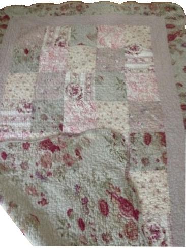Överkast / kudde Vintage Rosor beige rosa quilt fransk lantstil shabby chic lantlig stil