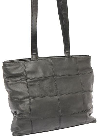 Black shopping bag leather