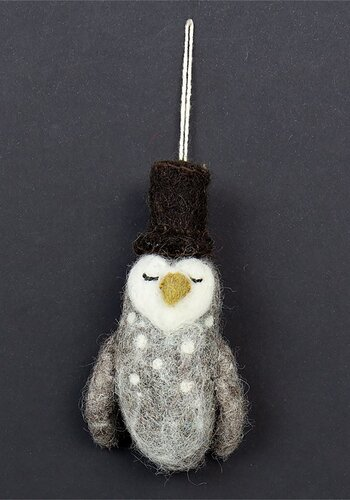 Christmas ornament, felted owl