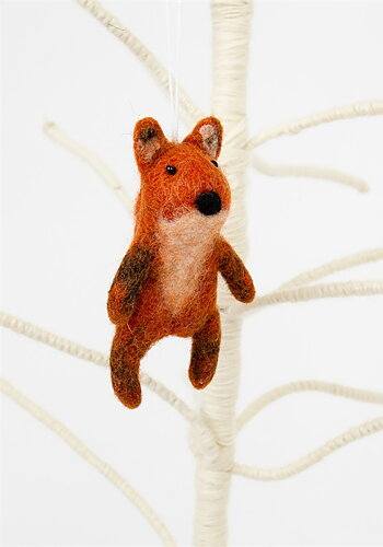Christmas ornament, felted fox