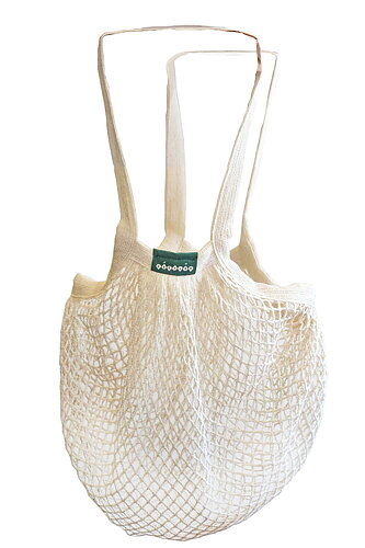 String bag, long handles, Unbleached cotton