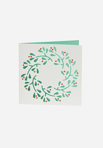 Christmas card, Laser-cut, Wreath