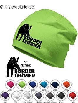 Mössa, reflextryck. Border Terrier med egen text som tillval.