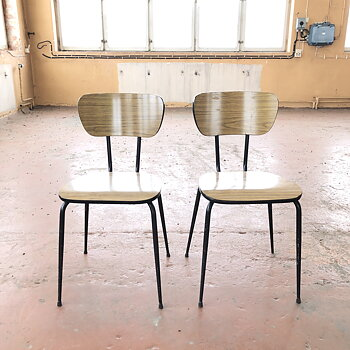 Vintage FORMICA Veneer chairs - with backnumbers