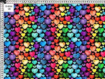 Regnbågshjärtan på svart botten