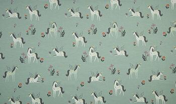 Unicorns på dimgrön botten