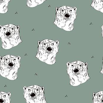 Isbjörn på dovgrön botten