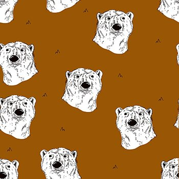 Isbjörnar på ocragul botten