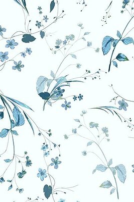 Botanical China Blues Silk Satin and Crepe