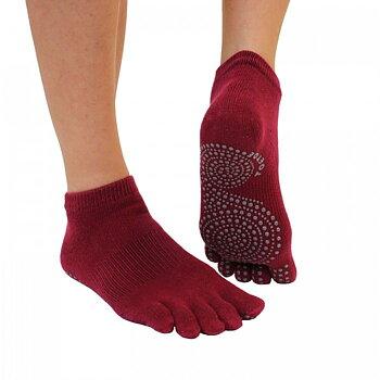 ToeToe Yoga & Pilates antislip enkelsokken - Donkerrood