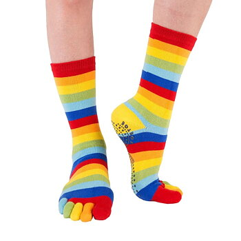 Toe Toe Anti-Slip teensokken - Striped Rainbow