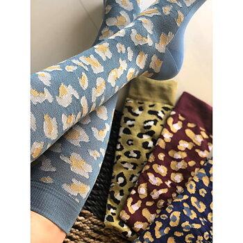 Leopardmønstret støttestrømpe, lyseblå