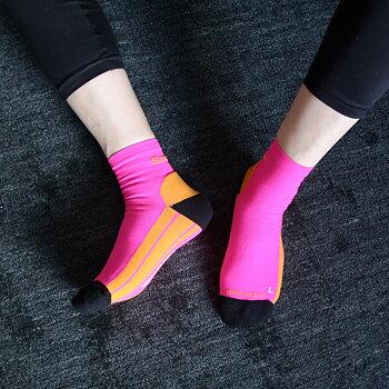Oransje/rosa kompresjonsstrømper til sport