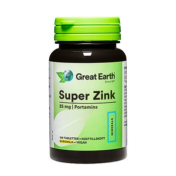 Super Zink 25mg 100 tabletter - Great Earth