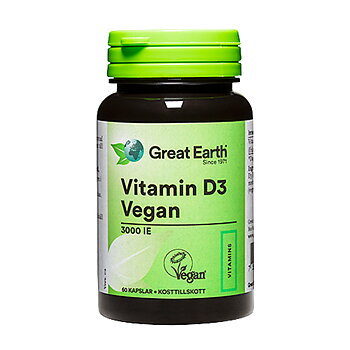 Great Earth Vitamin-D3 Vegan 3000 IE, 60 kapslar