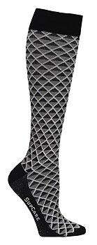 Støttestrømper bambus, sort og grå geometri