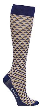 Stödstrumpor blå-gul geometri, bambu