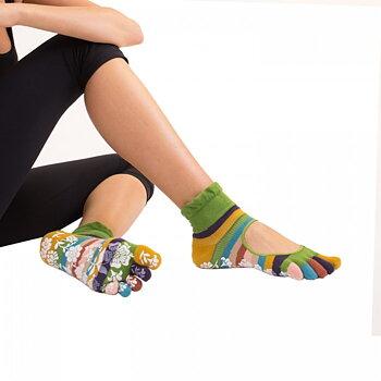 ToeToe yoga sokken antislip  -  groen met strepen
