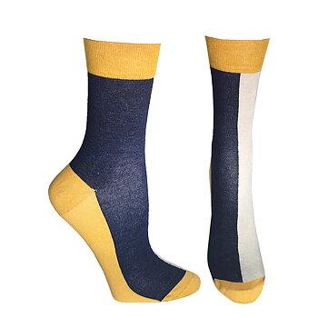 Ankelhøje støttestrømper, bambus - blå, hvid, gul