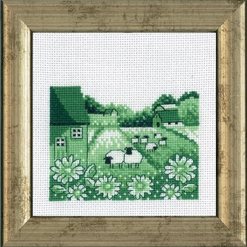 Sheep on Field mini embroidery cross stitch Permin 13-5434