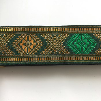 "Decorative ribbon ""Etnic"" green 40 mm"