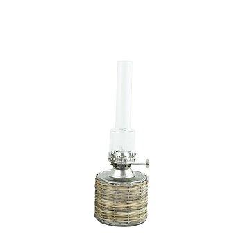 Fotogenlampa, liten rak i flätad korg och med brännare i nickel, från Strömshaga