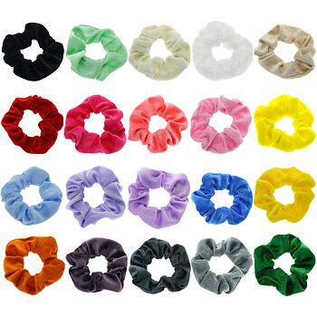 Sammet velour elastiska hårband 5ST PACK MIX