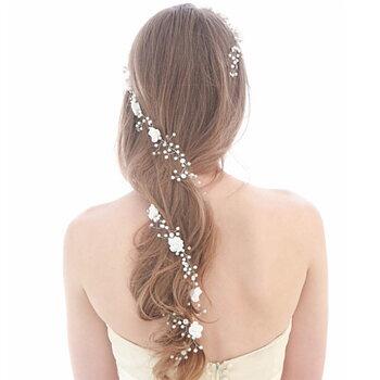 Kvinnor hårband  bröllop diadem blad pärla kristall