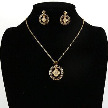 Guldpläterad smyckeset Österrikiska kristall