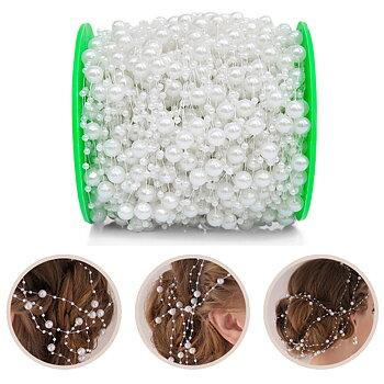 10m konstgjorda pärlor kedja bröllop dekoration hår accessoarer
