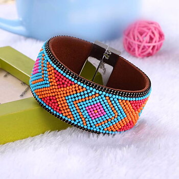 Rhinestone Leather Wrap Wristband Magnetic Bracelet Bangle