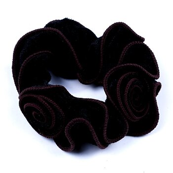Large Velvet Velour Shiny Trim Glittered Hair Scrunchie Elastic Hair Bands