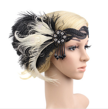 Great Gatsby 1920s Hair Band Vintage tiara Feather