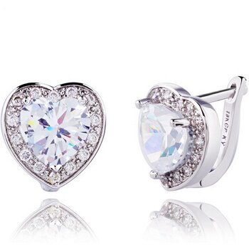 18k WHITE Gold Filled Lady Earrings CZ