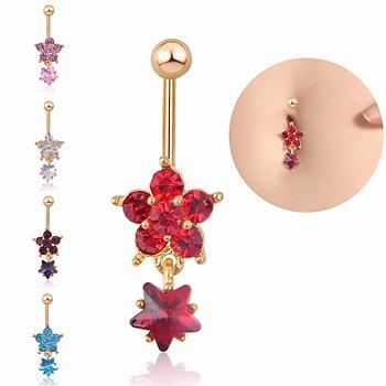 Navel Belly Button Ring Body Piercing Flower