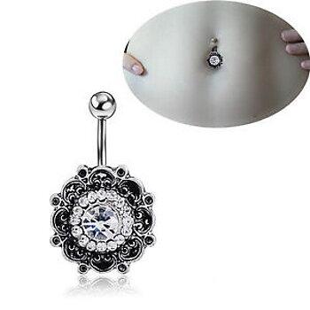 Retro Blomma kristall navelring piercing smycken