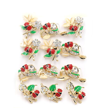 Brosch Kristall Blommor och nyckelpiga