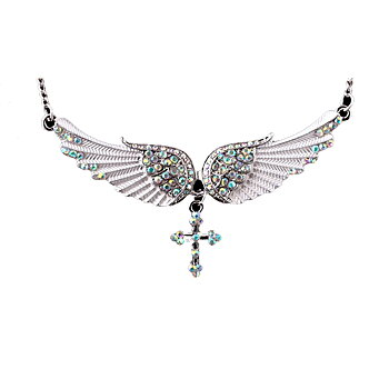 Angel wing cross Necklace crystal