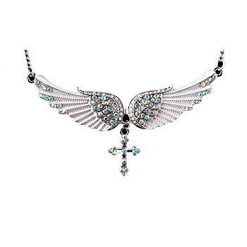 Ängel vingar kors Halsband kristall