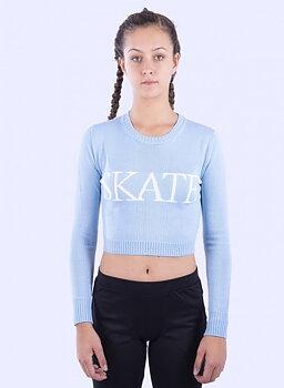 Långärmad kort ljusblå tröja från Moka
