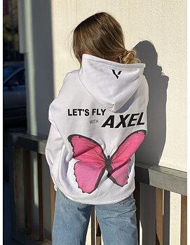 Vit hoodtröja från Axelartistics med tryck i rosa