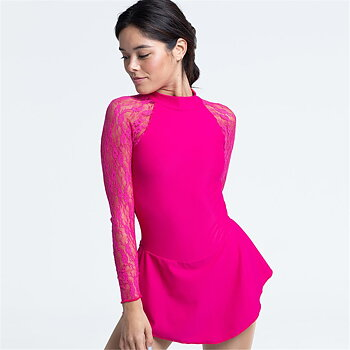 Ceriserosa klänning med ärmar i spets