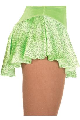 Rynkad kjol i limegrön glittermesh