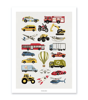 Vehicle poster - Kids poster with cars