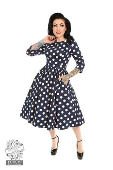 Heart & Roses - Milana Navy Polka Dot Dress