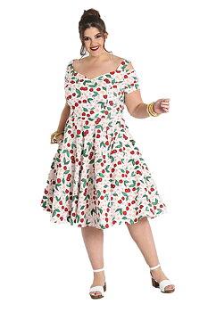 Hell Bunny - White Yvette Cherry Dress