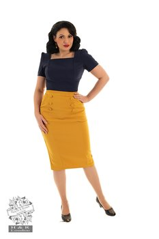 Heart & Roses - Jacklyn Gold Wiggle Skirt