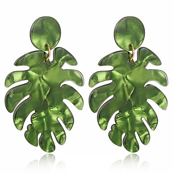 Earrings hanging palm leafs