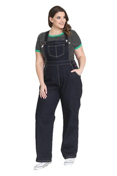 Hell Bunny - Elly May Navy Denim Dungarees