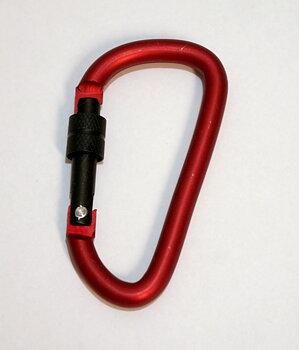 Karbinhake med lås ALU, 74 mm, röd